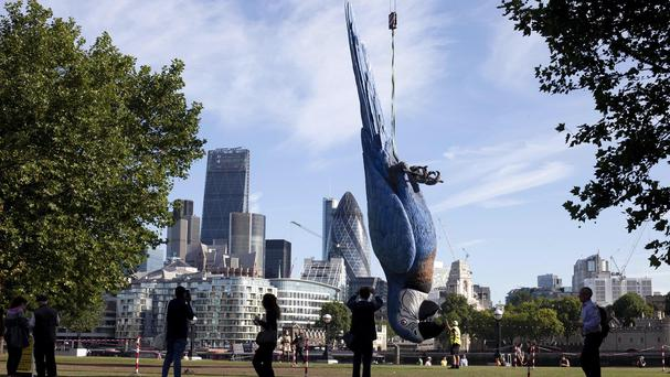 A giant dead parrot measuring 15 metres is unveiled on London's South Bank to promote the live broadcast of the final Monty Python Live stage show on comedy TV channel Gold this Sunday 20 July.