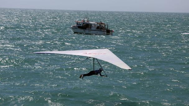 Ron Freeman jumps in the annual Worthing Birdman competition