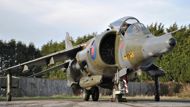 A 1976 Hawker Siddeley Harrier GR3 jump jet which is set to be sold at auction this weekend (Silverstone Auctions/PA Wire)