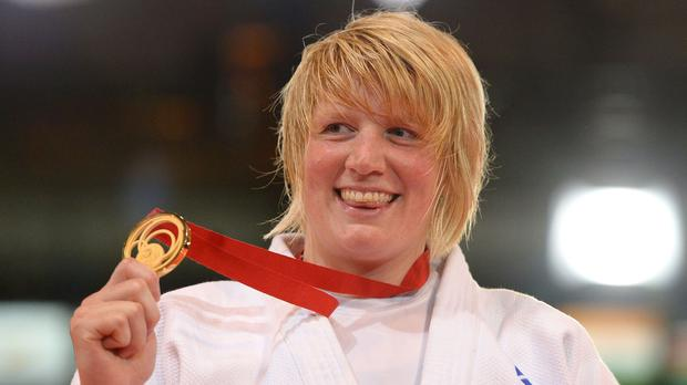 Sarah Adlington celebrates winning gold at the SECC during the 2014 Commonwealth Games in Glasgow