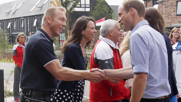 Sir Chris Hoy meets the Duke of Cambridge at the Commonwealth Games Village
