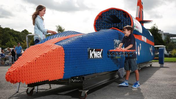 The life-sized replica of the 13.5m-long Bloodhound supersonic car has been made using over 380,000 K'NEX toy pieces