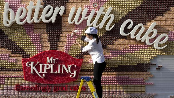 An edible poster made from more than 13,000 Mr Kipling cakes