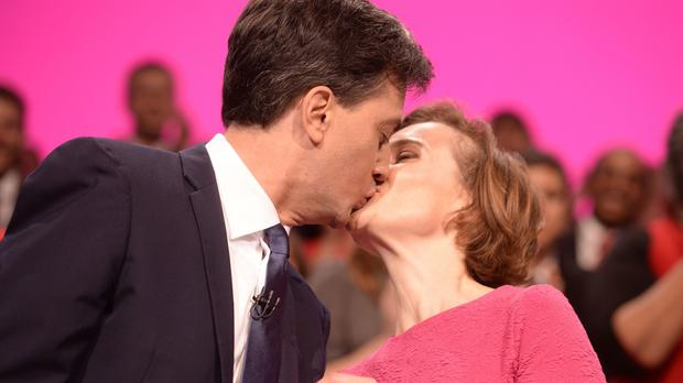 Ed Miliband kisses wife Justine after his keynote speech to delegates