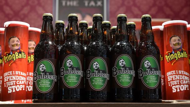 A mock-up bar selling Ballsberg beer and PringBalls ahead of the Conservative Party annual conference in Birmingham.