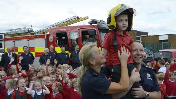 Liam Mansell, four, received a bravery award for raising the fire alarm at his school (Tyne and Wear Fire and Rescue Service/PA Wire)