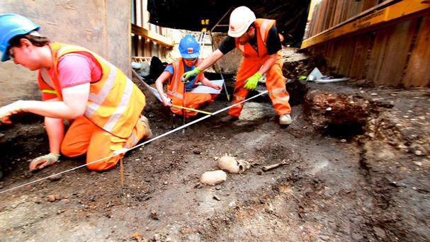 Archaeological activity at the Bedlam burial site in Liverpool Street as excavation is undertaken by the Crossrail project (Crossrail/PA)