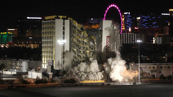 Going down ... the Clarion hotel and casino is destroyed (Las Vegas Sun/AP)