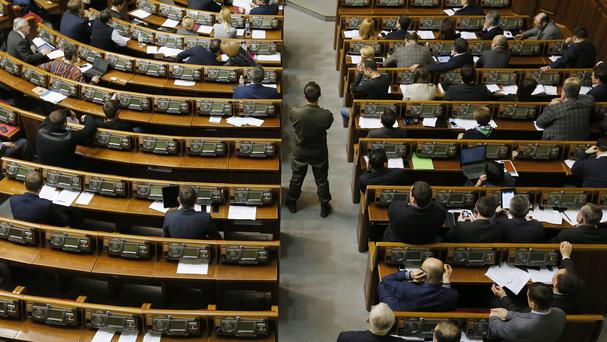 Rival politicians came to blows in Ukraine's parliament (AP)