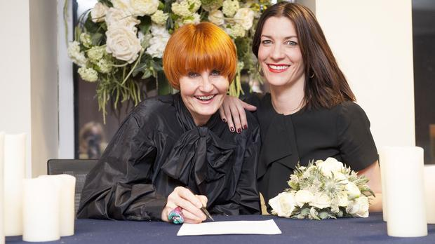 Mary Portas, left, says her brother is the biological father of her son with Melanie Rickey, right