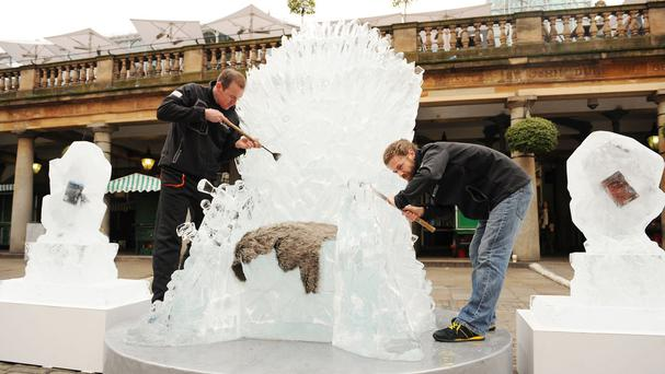 An ice Iron Throne goes on display in Covent Garden, central London (PA)