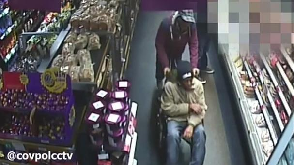A shoplifter posed as a wheelchair user before stealing food in Coventry (West Midlands Police/PA)