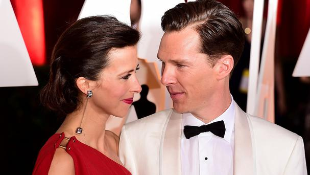 Sophie Hunter and Benedict Cumberbatch arriving at the Oscars ceremony in Hollywood