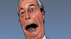 Nigel Farage in comic book form is to run up against Judge Dredd in a new story (Rebellion/PA)