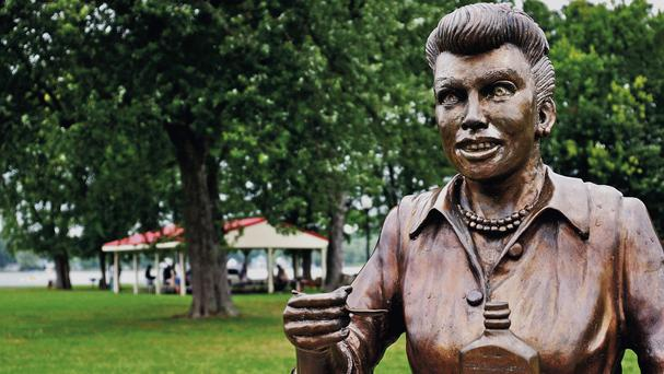 A bronze sculpture of Lucille Ball in the village of Celoron, New York (AP/The Post-Journal)