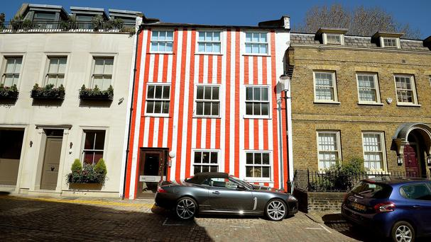 A red and white striped house in South End, Kensington, London