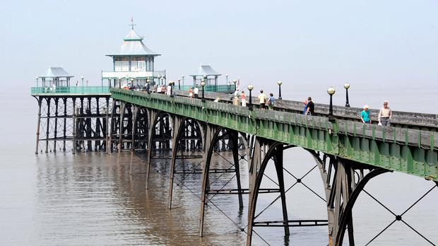 The pier at Clevedon, North Somerset, where a group of geocachers got stuck in mud