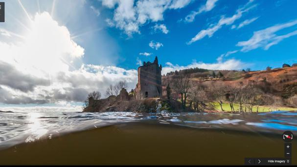 An image taken from Google Street View showing Urquhart Castle on Loch Ness