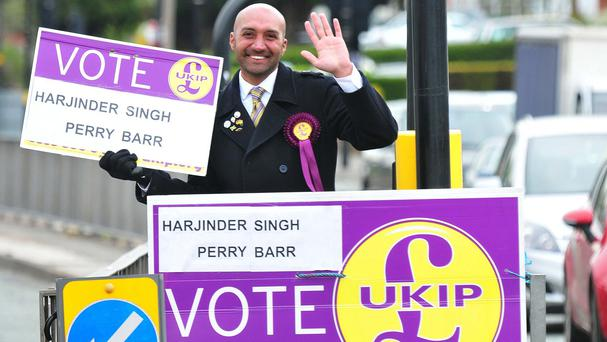 Ukip candidate for Perry Barr, Harjinder Singh, 37, who has been standing and waving at cars at a busy junction for 13 hours a day in a bid to get elected