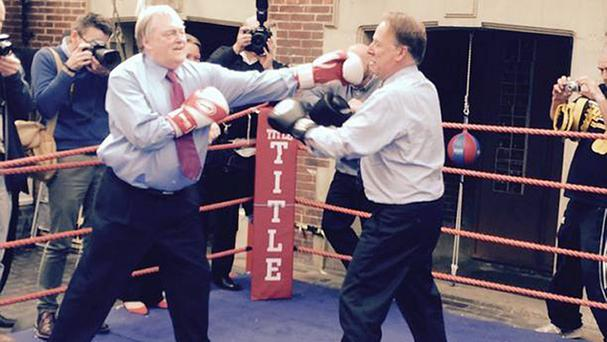 Lord Prescott and TV reporter Michael Crick in the boxing ring at Redcar Amateur Boxing Club (@LabourNorth/PA)