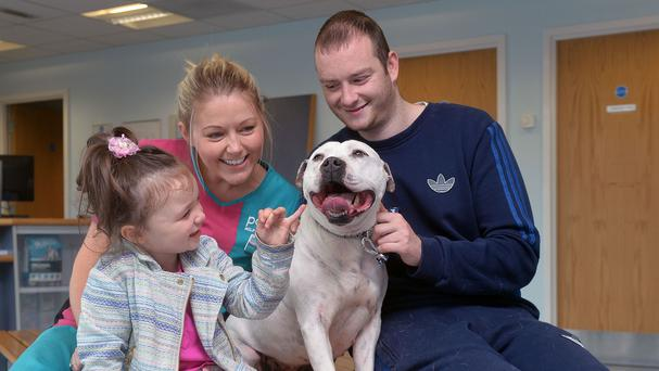 PDSA nurse Gemma Vance reunited Eoin Markey and his daughter Alexis with their missing dog Mon (Colm Lenaghan/Pacemaker/PA)