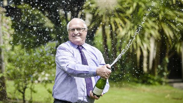Great-grandfather Peter Congdon, from Truro, celebrates after winning a huge Lotto jackpot