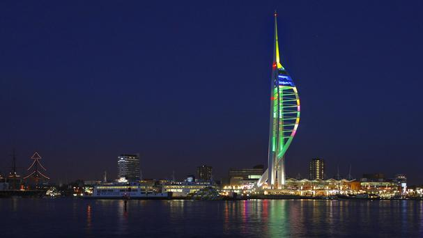 The Spinnaker Tower will now be painted blue and gold after a backlash over red