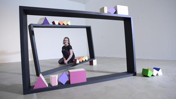 Kayt Hughes is still in shock after winning the Woon Foundation Art and Sculpture Prize for her work made of wood, emulsion, filler and pencil.(Beattie Communications)