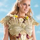 Newly appointed Special K brand ambassador Tess Daly models a dress she co-designed with Petra Storrs, which is made from the ingredients of her very own Special K recipe of red apple, vanilla and almonds.