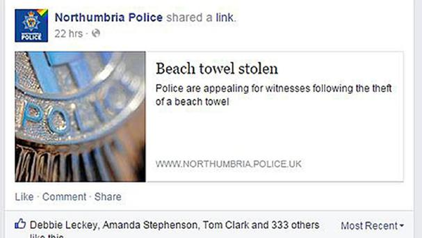 Northumbria Police's Facebook page contained the appeal over the stolen beach towel.