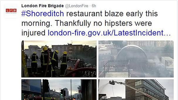 Screengrab image taken from the Twitter feed of London Fire Brigade as they apologised after announcing