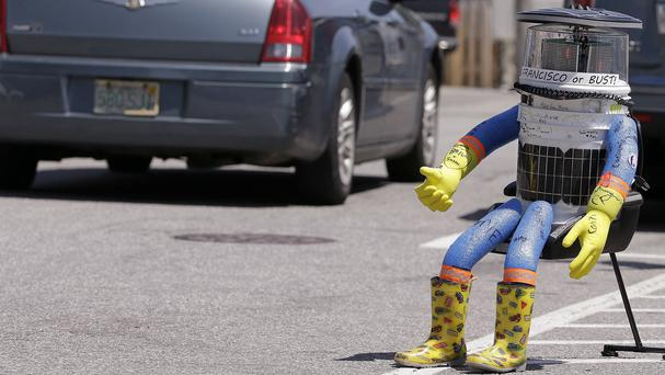 HitchBOT begins its US journey in Marblehead, Massachusetts (AP)