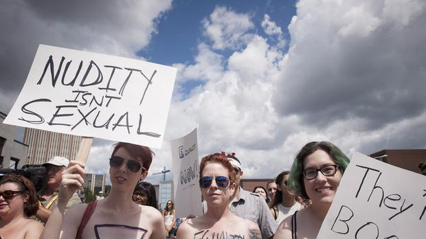 Bare With Us demonstrators gather in Waterloo, Ontario (The Canadian Press/AP)