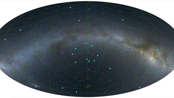 The distribution of gamma ray bursts on the sky at a distance of seven billion light years, centred on a newly discovered ring (Royal Astronomical Society/PA)