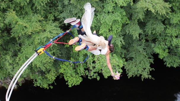Hannah and Ross start married life together with the perfect take-off (PA/Highland Fling Bungee)