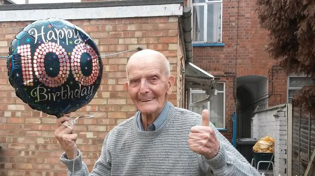 Ernie Rollason who has celebrated his 100th birthday in the same Leicester house where he was born