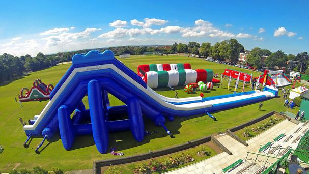Europe's largest inflatable slide is unveiled at Liverpool Cricket Club
