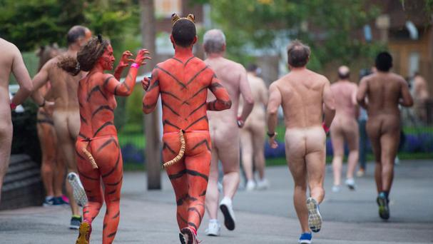 Naked runners sprint through ZSL London Zoo as part of a fundraising event called Streak for Tigers, which raises money to protect tigers through global conservation projects
