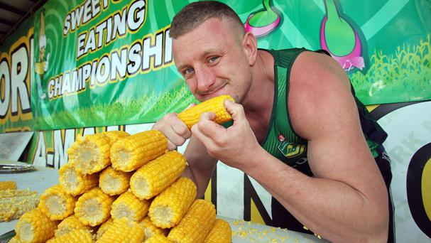 Scott Powell won the UK Sweetcorn Eating Championships but failed to set a new world record (Kippa Matthews/PA)