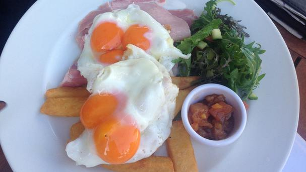 A diner was delighted to find his pub lunch of ham, egg and chips featured both a double yolker and a triple yolker