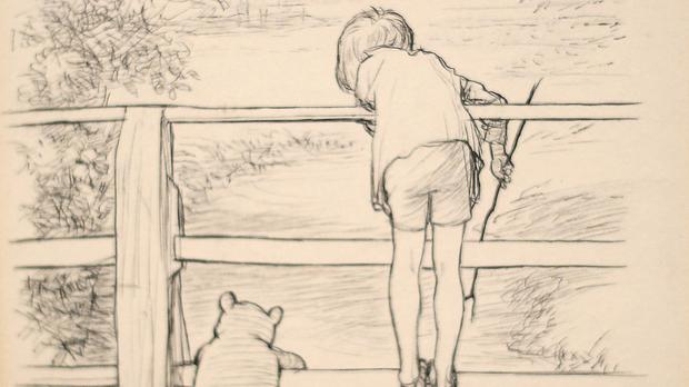 The drawing by E.H Shepard of Winnie the Pooh, as the bear plays Poohsticks