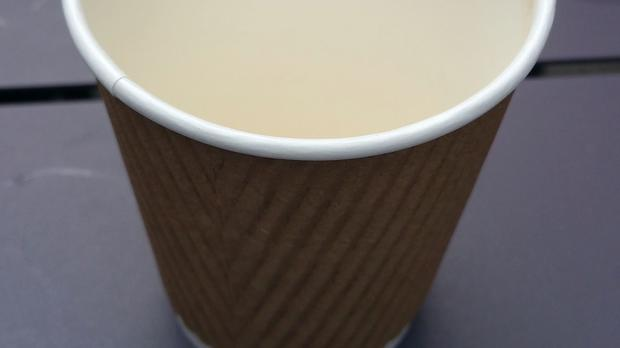 The simple disposable coffee cup used by Jeremy Corbyn while he was in Nottingham which has been auctioned for charity raising £51 (Maria Cooke/PA)