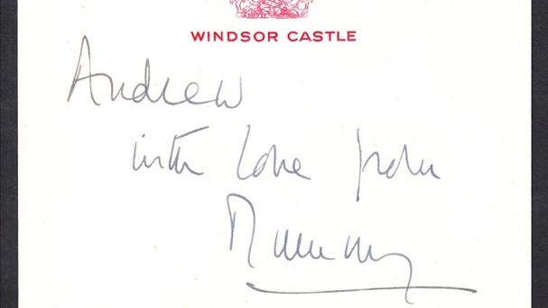 Gift tag containing a message from the Queen to Prince Andrew. This formed part of a collection sold at auction