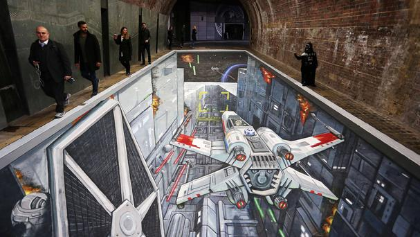 A 3D artwork unveiled under Southwark Bridge in London depicting the classic Trench Run scene from the original Star Wars film trilogy (Mischief PR/PA)