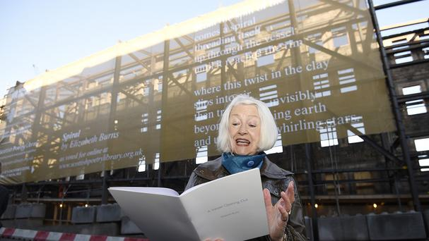 Christine de Luca recites Spiral to mark the launch of the poetry banner (Greg Macvean/PA)