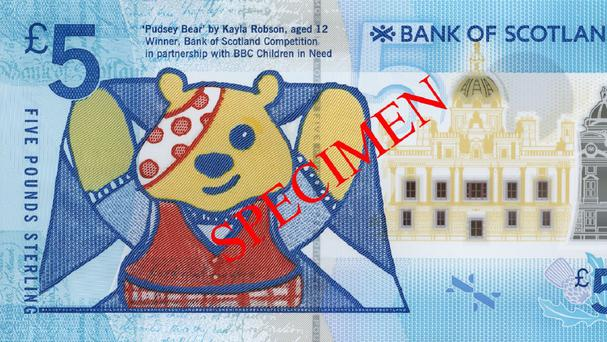 Bank of Scotland's new bespoke Pudsey note (Bank of Scotland/PA)
