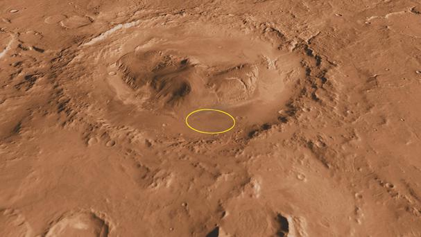 The Curiosity rover's landing site on the Gale Carter on Mars (Nasa/PA)