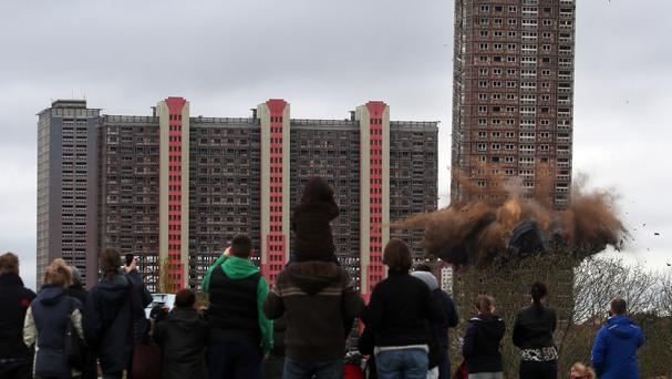 The demolition of the Red Road block of flats in Glasgow