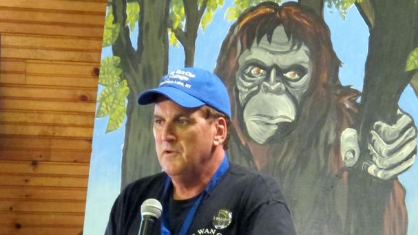 Peter Wiemer delivers opening remarks at the 4th annual Chautauqua Lake Bigfoot Expo (AP)