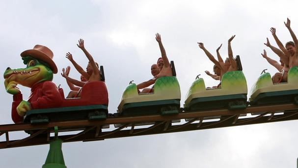 Thrill seekers ride naked on the Green Scream roller coaster at Southend pleasure park, raising funds for Southend Hospital charitable foundation Bosom Pals appeal.